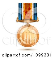 Clipart 3d Sports Achievement Bronze Third Place Award Medal On A Star Ribbon Royalty Free Vector Illustration by merlinul