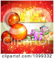 Clipart Red Background Of 3d Christmas Baubles With Gift Boxes And Snowflakes Royalty Free Vector Illustration by merlinul