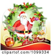 Clipart Merry Christmas Greeting With Santa In A Holly Wreath Royalty Free Vector Illustration by merlinul