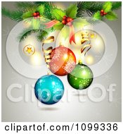 Clipart Background Of 3d Christmas Baubles Over Gray With Snowflakes And Holly Royalty Free Vector Illustration by merlinul