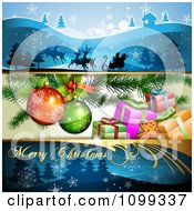 Clipart Three Christmas Banners Of Santa And His Sleigh Presents Under The Tree And A Greeting Royalty Free Vector Illustration