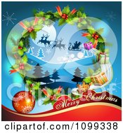Clipart Merry Christmas Greeting With Santa Flying His Sleigh In A Wreath Royalty Free Vector Illustration by merlinul