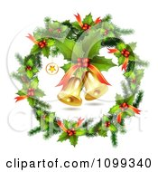 Clipart 3d Holly Christmas Wreath With Jingle Bells Royalty Free Vector Illustration