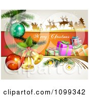 Clipart Merry Christmas Greeting With Santa Flying His Sleigh 3d Bells Gifts And Baubles Royalty Free Vector Illustration by merlinul