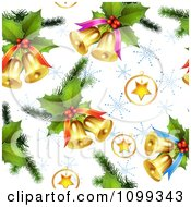 Clipart Seamless Christmas Background Of 3d Stars Holly And Bells With Snowflakes Royalty Free Vector Illustration by merlinul