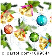 Clipart Seamless Christmas Background Of 3d Baubles Holly And Bells With Snowflakes Royalty Free Vector Illustration by merlinul