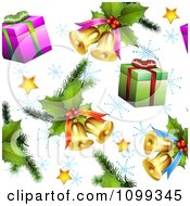 Clipart Seamless Christmas Background Of 3d Stars Holly Gifts And Bells With Snowflakes Royalty Free Vector Illustration by merlinul
