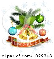 Clipart Merry Christmas Banner Under 3d Jingle Bells Holly And Ornaments With Snowflakes Royalty Free Vector Illustration