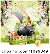 Clipart Happy St Patricks Day Greeting With A Pot Of Gold Shamrock Butterfly And Blossoms Royalty Free Vector Illustration