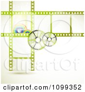 Clipart Green Film Frames With Rainbows And Reels Royalty Free Vector Illustration by merlinul
