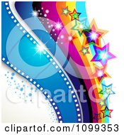 Clipart Photography Background Of Blue Film Frames Rainbow Waves Sparkles And Stars Royalty Free Vector Illustration by merlinul