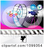 Clipart Filming Movie Camera With Film Over Purple With Halftone 2 Royalty Free Vector Illustration by merlinul