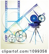 Clipart Blue Movie Camera Filming Over Negative Film Strips And Reels Royalty Free Vector Illustration by merlinul #COLLC1099356-0175