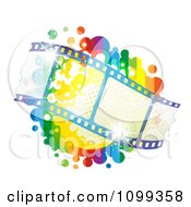 Clipart Waving Film Strip Over A Rainbow Splatter Royalty Free Vector Illustration