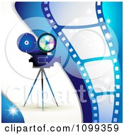 Clipart Blue Movie Camera And Film Strip Background Royalty Free Vector Illustration by merlinul