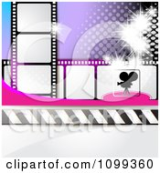 Clipart Silhouetted Movie Camera With Film Strips And Purple Halftone Royalty Free Vector Illustration by merlinul