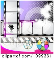 Clipart Silhouetted Movie Camera With Film Reels And Strips And Purple Halftone Royalty Free Vector Illustration by merlinul