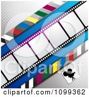 Clipart Silhouetted Movie Camera With Halftone And Film Frames Royalty Free Vector Illustration by merlinul