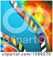 Clipart Blue Wave Of Stripes Over Colorful Halftone Royalty Free Vector Illustration