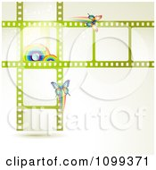 Clipart Green Film Frames With Rainbows And Butterflies Royalty Free Vector Illustration