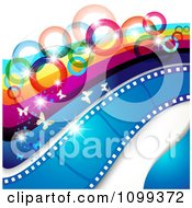 Clipart Photography Background Of Butterflies Sparkles Rainbow Circles Stripes And Film Frames Royalty Free Vector Illustration by merlinul