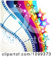 Clipart Photography Background Of Film Frames Rainbow Waves Sparkles And Stars Royalty Free Vector Illustration