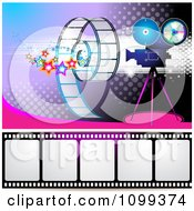 Clipart Filming Movie Camera With Film Over Purple With Halftone 1 Royalty Free Vector Illustration