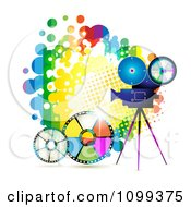 Clipart Movie Camera Filming Over A Rainbow Splatter And Film Reels Royalty Free Vector Illustration