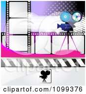 Clipart Filming Movie Camera With Film Over Purple With Halftone 3 Royalty Free Vector Illustration