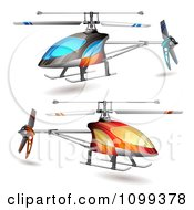 Clipart 3d Blue And Orange Helicopters Royalty Free Vector Illustration