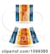 Clipart 3d Blue And Orange Starry Ribbon And Fabric Pieces Royalty Free Vector Illustration by merlinul