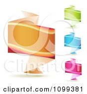 Clipart 3d Orange Green Blue And Pink Origami Fold Banners Royalty Free Vector Illustration by merlinul