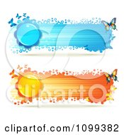 Clipart Blue And Orange Streak Banners With Butterflies And Flowers Royalty Free Vector Illustration