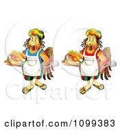 Clipart Rastarfarian Chef Roosters Holding Roasted Chickens Royalty Free Vector Illustration by merlinul
