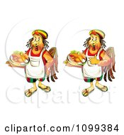 Clipart Two Rastarfarian Chef Roosters Serving Chicken Royalty Free Vector Illustration by merlinul