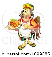 Clipart Rastarfarian Chef Rooster Holding A Plate Of Chicken Royalty Free Vector Illustration by merlinul #COLLC1099385-0175