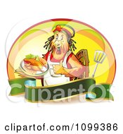 Clipart Rastarfarian Chef Rooster Holding A Plate Of Chicken And A Thumb Up Over A Banner With A Spatula And Oval Royalty Free Vector Illustration by merlinul #COLLC1099386-0175