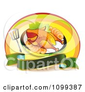 Clipart Roasted Chicken With A Spatula And Blank Banner Oval Royalty Free Vector Illustration