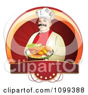 Clipart Happy Male Chef Serving Chicken Over A Circle With A Red Five Star Blank Banne Royalty Free Vector Illustration