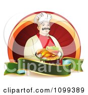 Clipart Happy Male Chef Serving Chicken Over A Circle With A Green Blank Banner Royalty Free Vector Illustration by merlinul