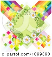 Clipart Green Shamrock And Daisy Diamond Over Colorful Tiles And Stripes Royalty Free Vector Illustration by merlinul