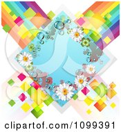 Clipart Blue Shamrock And Daisy Diamond Over Colorful Tiles And Stripes Royalty Free Vector Illustration by merlinul