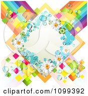 Clipart White Shamrock And Daisy Diamond Over Colorful Tiles And Stripes Royalty Free Vector Illustration