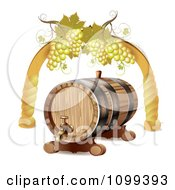 Clipart Wine Barrel With White Grapes In An Arch Royalty Free Vector Illustration by merlinul
