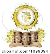 Clipart Wine Barrel With White Grapes In A A Leaf Circle Royalty Free Vector Illustration