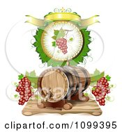 Clipart Wine Barrel With Red Grapes In A A Leaf Circle With A Banner Royalty Free Vector Illustration by merlinul