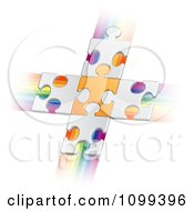 Clipart 3d White Puzzle Pieces Connected To An Orange Piece Forming A Cross Over Rainbow Streaks Royalty Free Vector Illustration