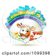 Clipart Dairy Cow Eating Flowers In A Frame With A Rainbow And Dew Drops Royalty Free Vector Illustration