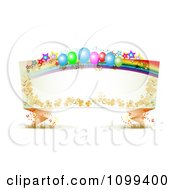 Clipart Party Balloon Rainbow And Star Origami Banner With Copyspace Royalty Free Vector Illustration by merlinul