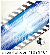 Clipart Silhouetted Movie Camera With Halftone And Blue Lights Royalty Free Vector Illustration